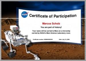 Mein Name auf dem Mars