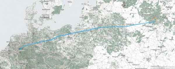 Flugroute von Moskau Domodedovo (DOM) nach Osnabrück International (DUS)