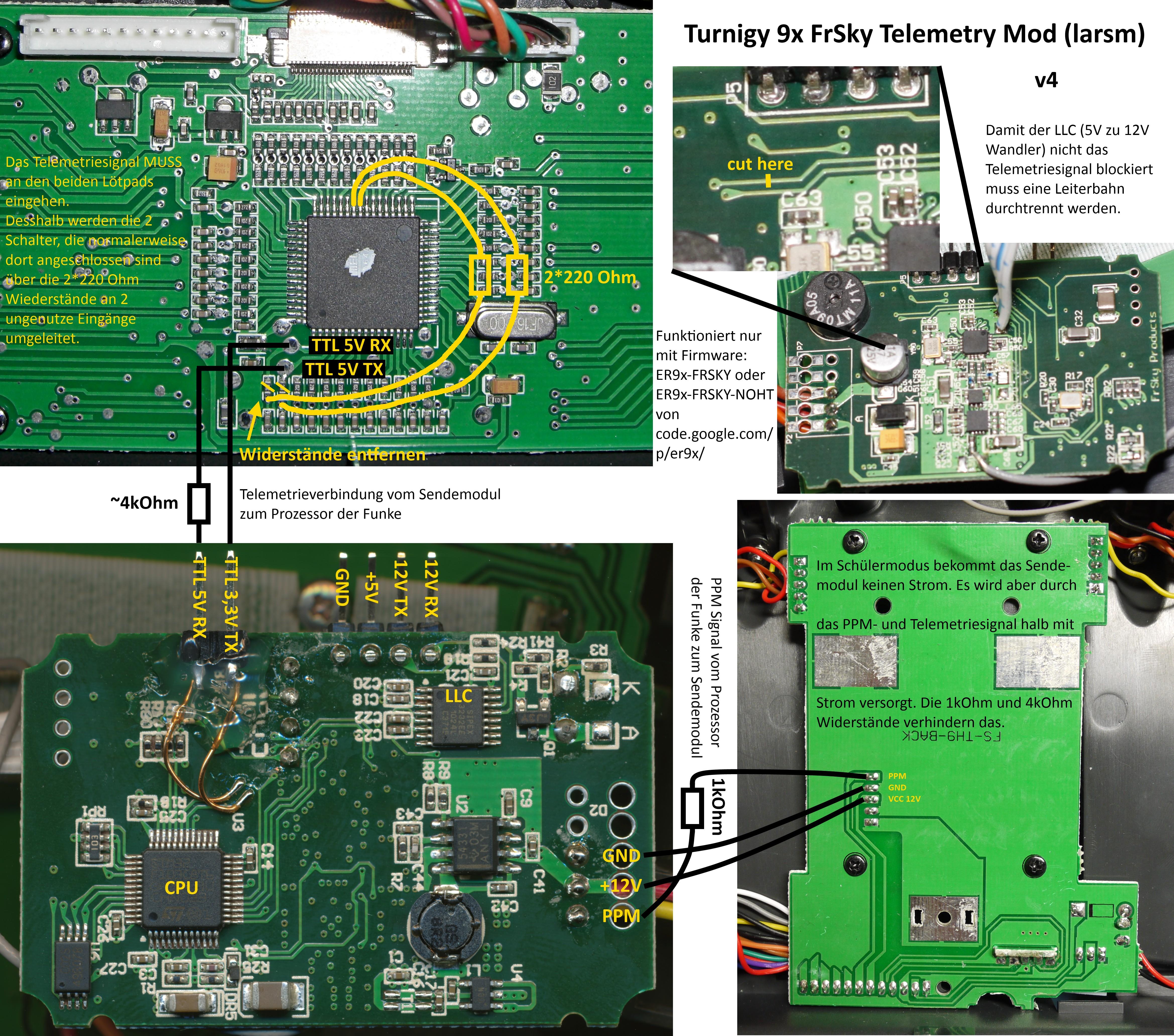 Modifikation der Turnigy 9x Fernsteuerung mit FrSky Telemetrie