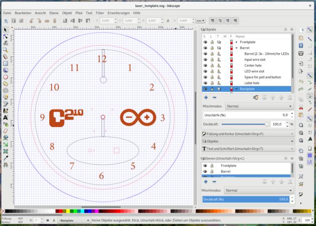 Fertiges Schnittmuster der Uhr in Inkscape