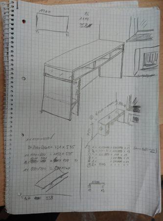 Skizze Schreibtisch