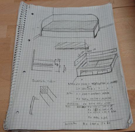 Skizze Bett