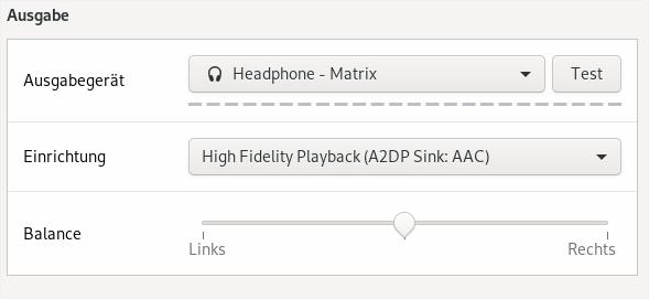 Bluetooth Profilauswahl
