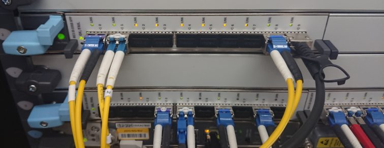 Juniper Router with Fiber Cables