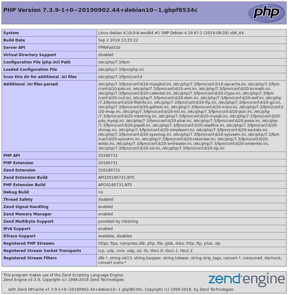 Ausgabe von phpinfo() im Webbrowser