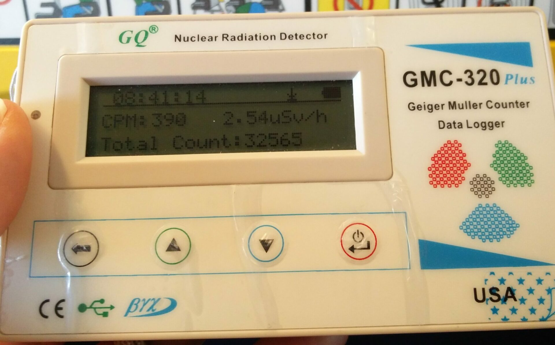 Geiger counter showing 2.54 µS/h on travel altitude in the plane.