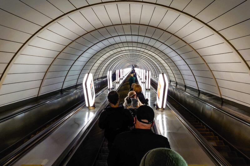 Escalator down to the Metro station