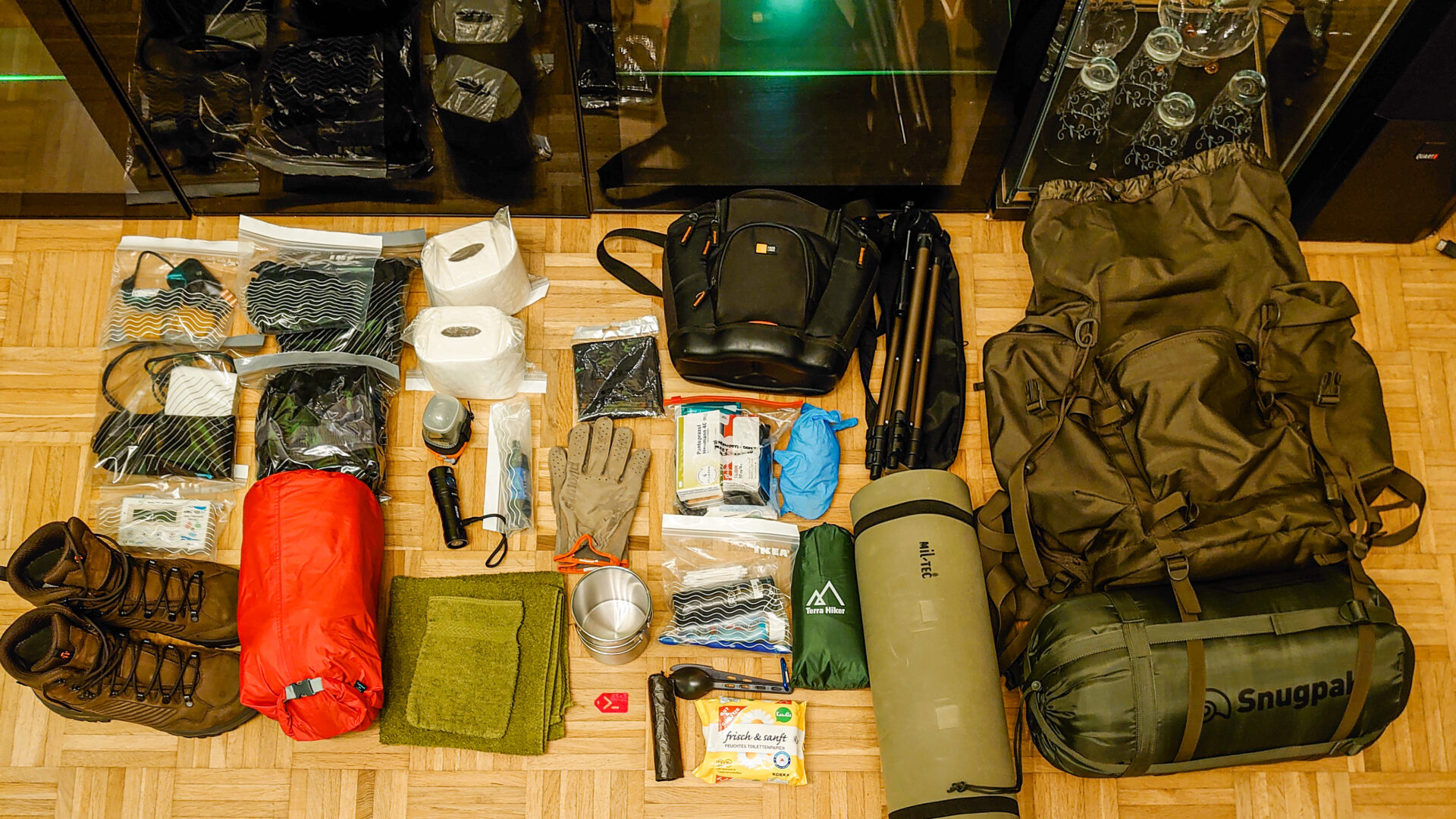 Hiking equipment pack shot