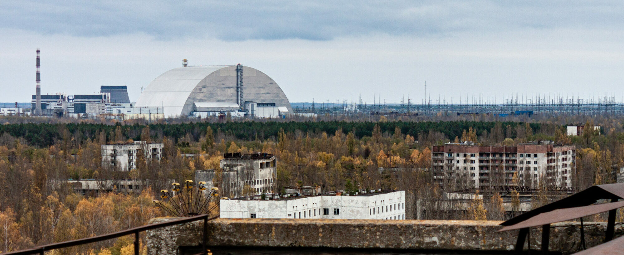 New Safe Confinment viewed from a Pripyat rooftop
