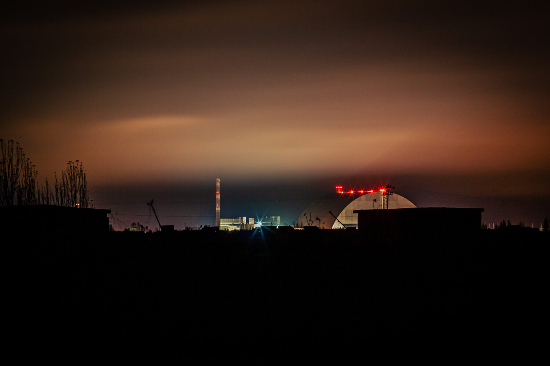 """The """"New Safe Confinement"""" viewed from the distance."""